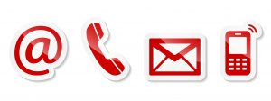 Contact Us – Red sticker icons